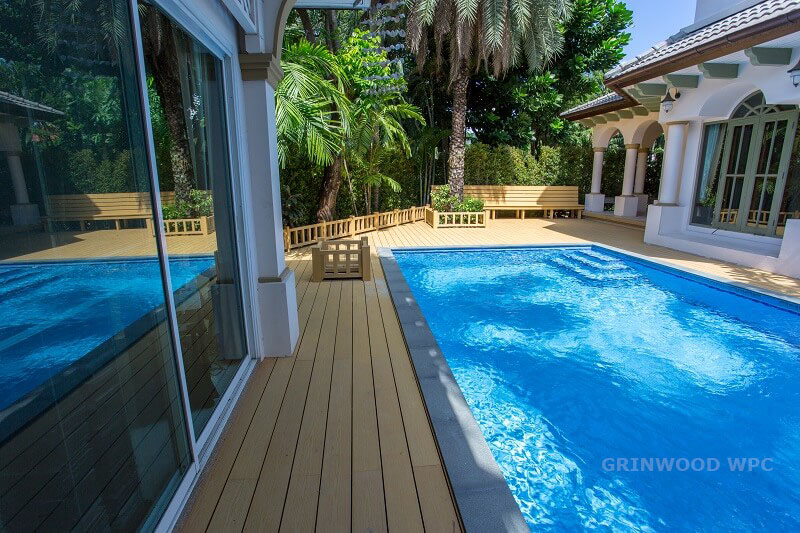 wpc decking arrounding the swimming pool | wpc